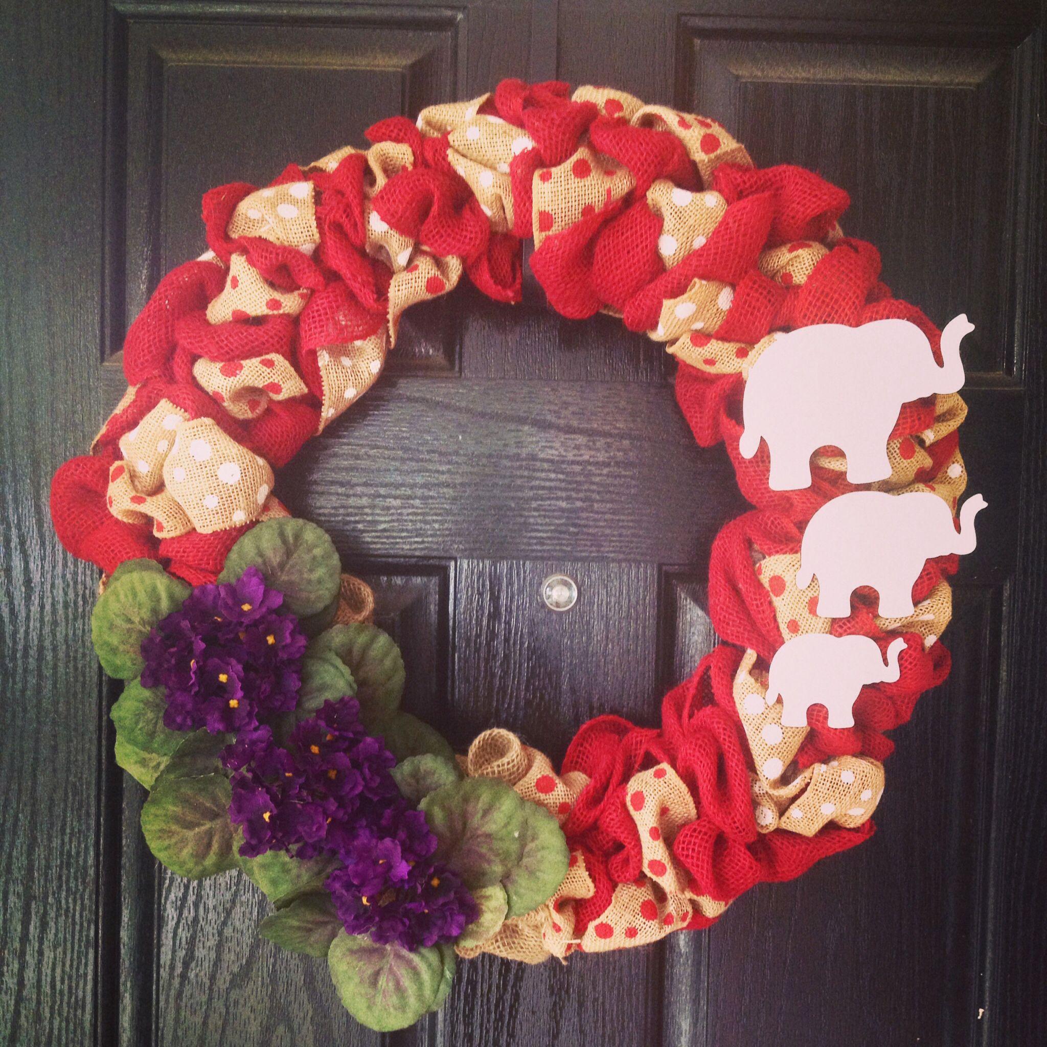 delta sigma theta burlap wreath african violets