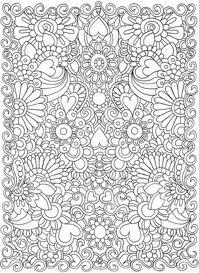 Hearts & Flowers Doodle Coloring pages colouring adult detailed ...