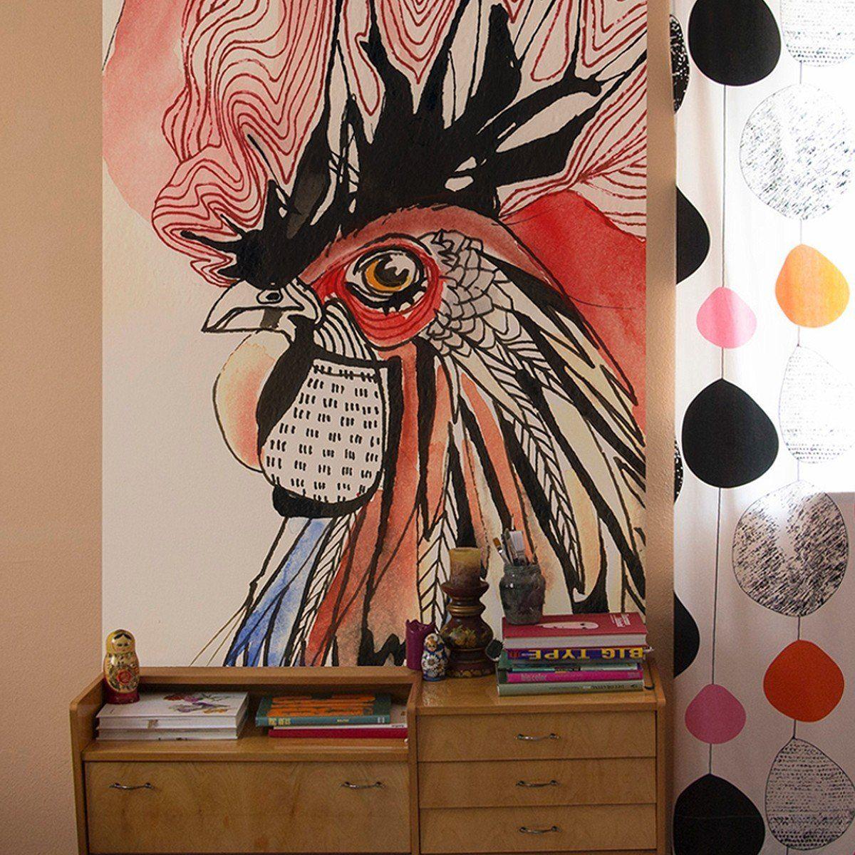 Wandtapetenaufkleber cock in   maria  pinterest  tapeten wände und fototapete