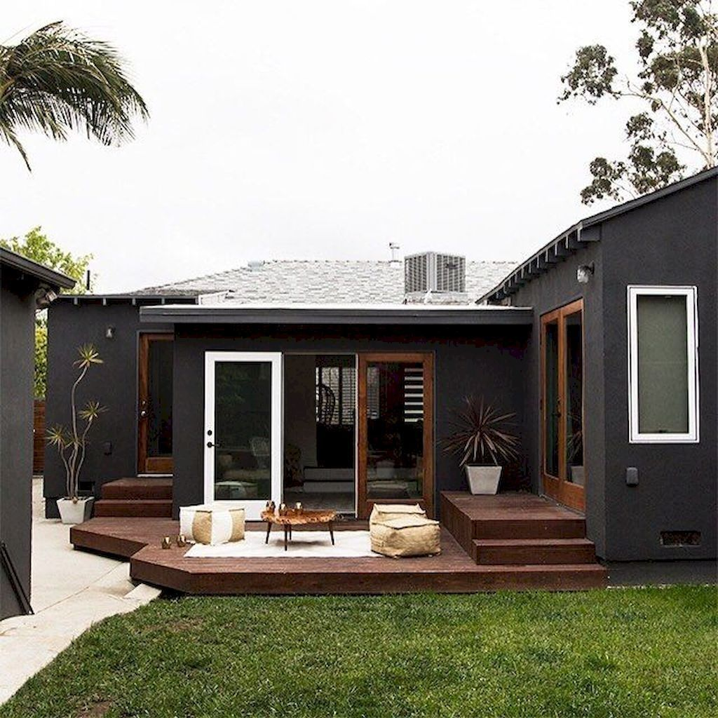 Home Deck Colors House: Cool 43 Lovely Home Black And White House Exterior Design