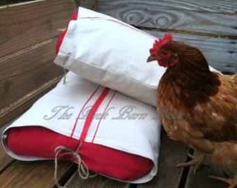 "Two ""grain sack"" pillow shams"