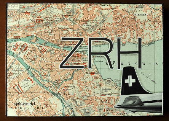 Zurich map on wood