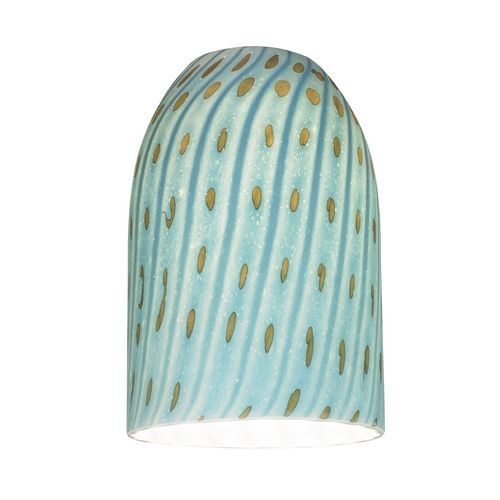 Turquoise Art Glass Shade - Lipless with 1-5/8-Inch Fitter Opening at Destination Lighting