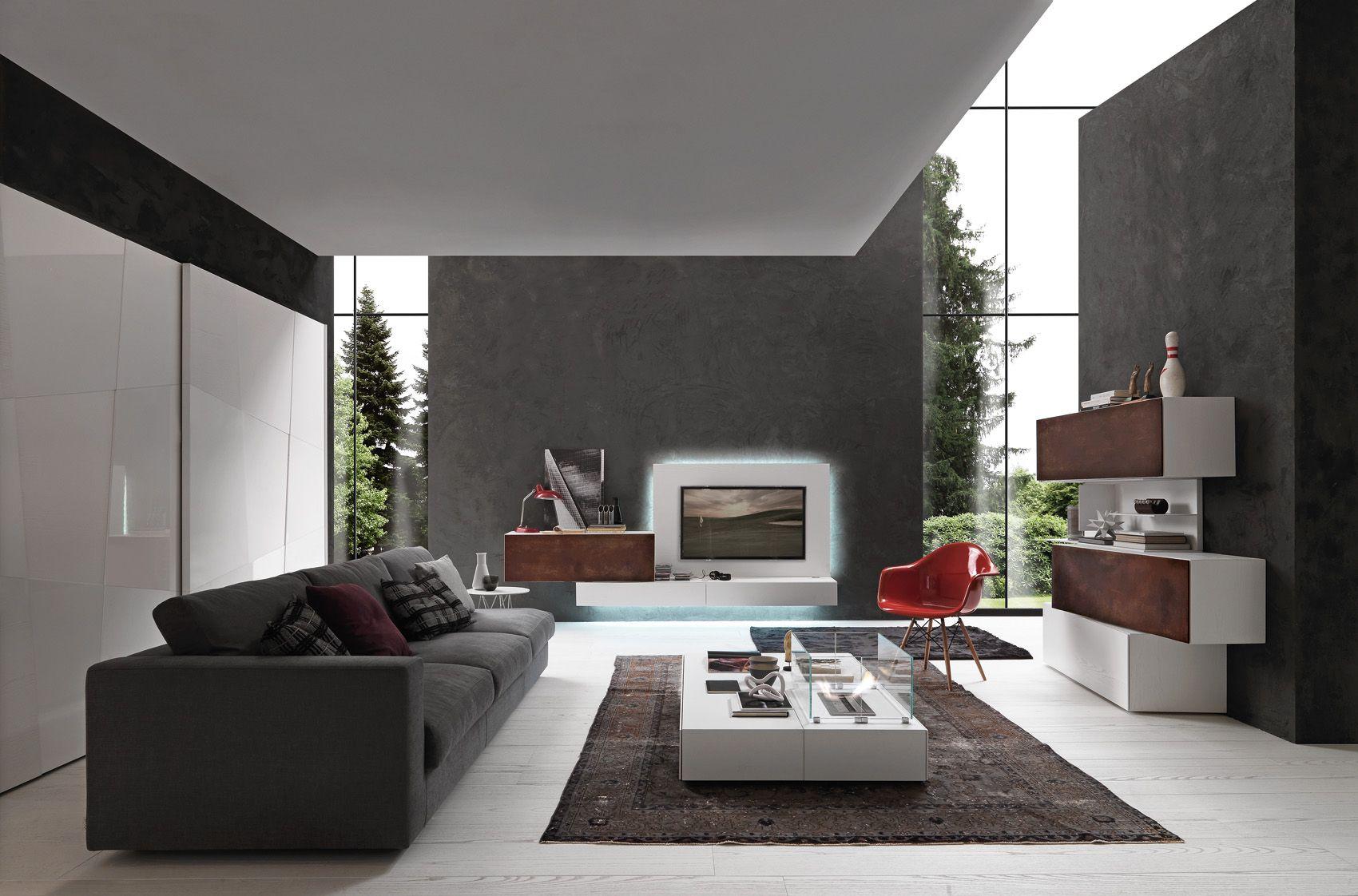 Bianco candido color wood base unit and tv panel wall for Mobili italiani design