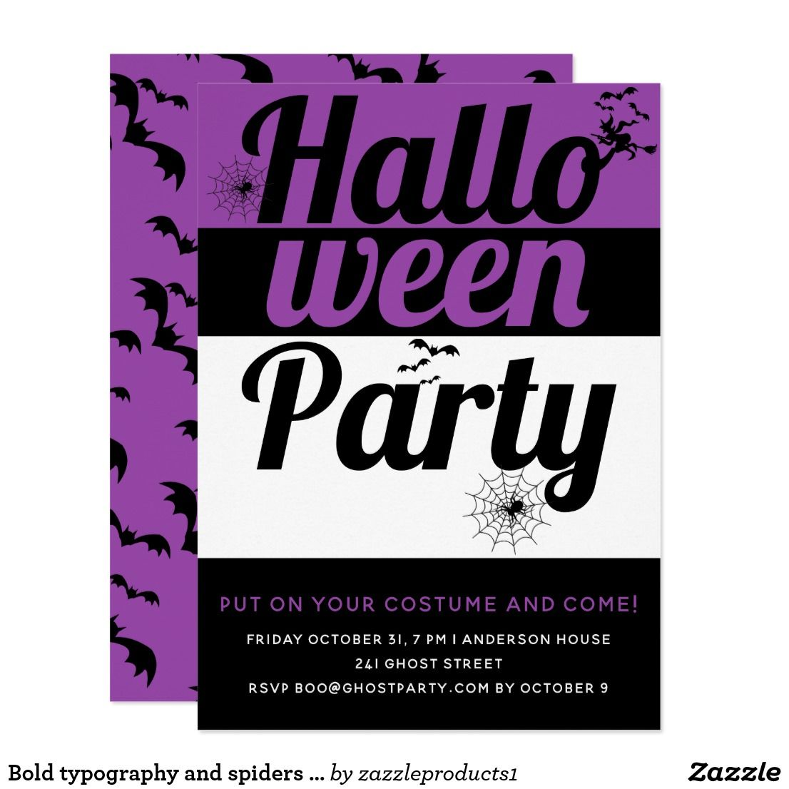 Bold typography and spiders purple halloween party