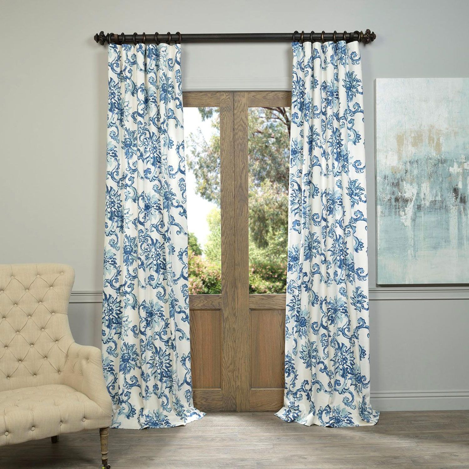Half Price Drapes Indonesian Blue 96 X 50 Inch Printed