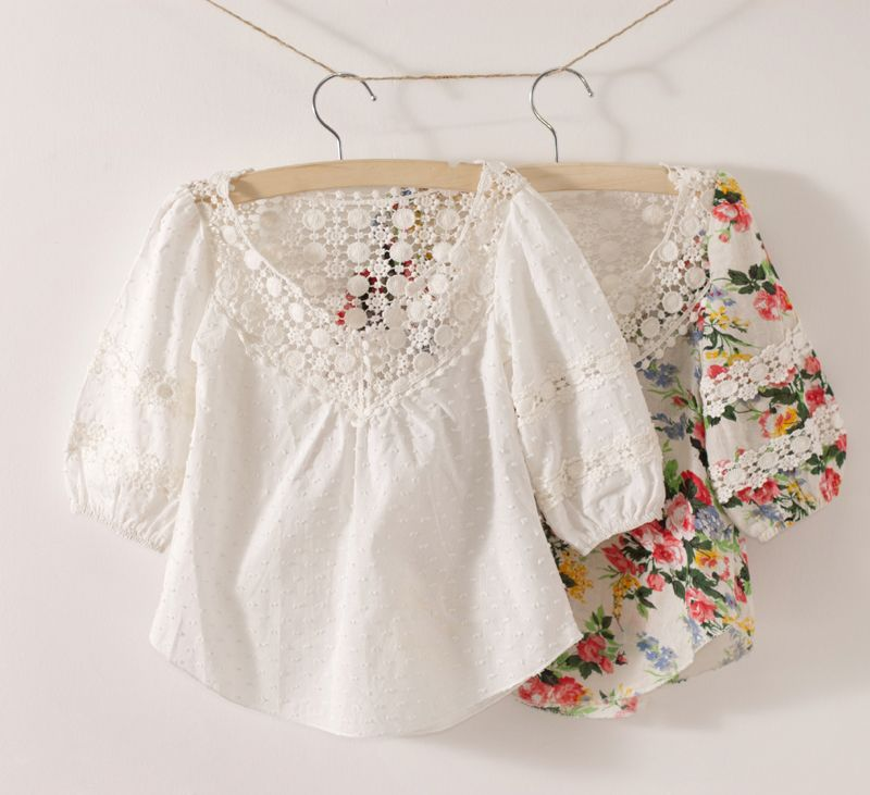 Tone pcs for retail,drop shopping!free shipping!girls white blouses,girls  lace shirt,floral girls blouses,children print shirts | Pakaian anak, Baju  anak, Pakaian