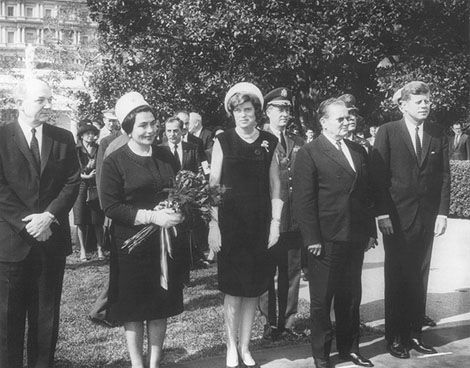 Eunice Kennedy Shriver (center, with Marshall Tito and President Kennedy at right) initiated and continues to lead a campaign to improve the lives of people with mental retardation. She is the founder of the Special Olympics organization.