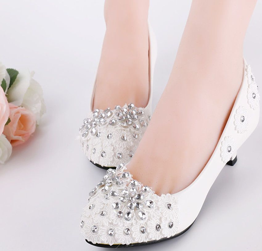 NEW Women/'s heel white flower lace crystal Wedding shoes pumps bride size 5-10