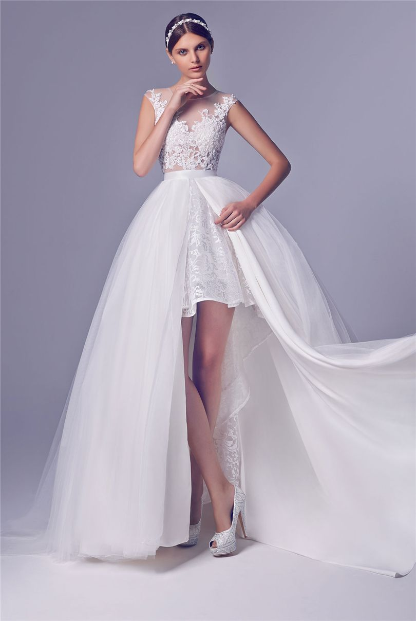 Short wedding dress with long detachable train high low for Detachable train wedding dress