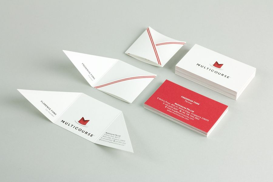 New Visual Identity For Multicourse By Bravo B O Business Cards Creative Folded Business Cards Business Card Branding