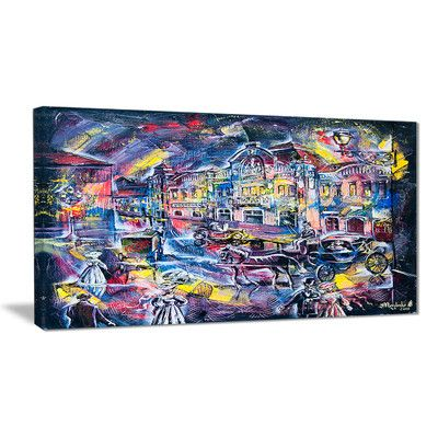 """DesignArt Surreal City Abstract Graphic Art on Wrapped Canvas Size: 16"""" H x 32"""" W"""