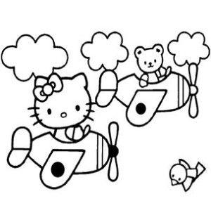 Кошечка на самолете | Hello kitty картинки, Рисунки для ...
