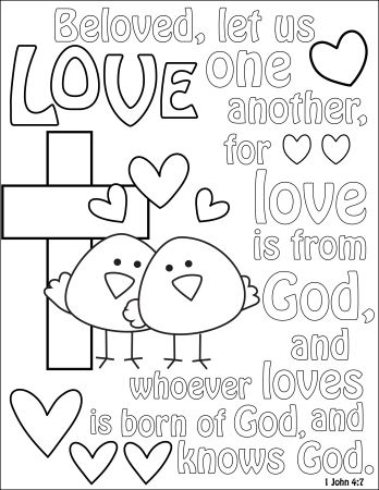 Coloring Sheet Love 1 John 4 7 Valentine Coloring Pages