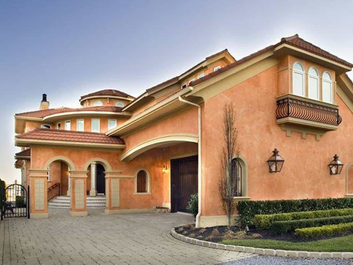 Mediterranean Exterior House Design With Faux Finish Walls Home