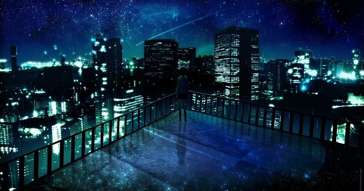 Rooftop Edge Background Night In 2020 Anime Scenery Wallpaper