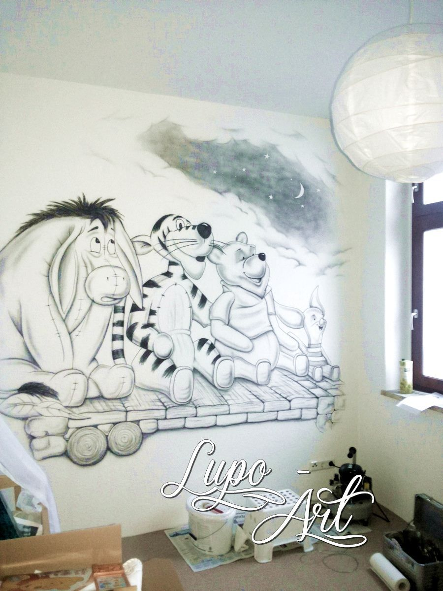 wandbild von winnie pooh airbrush wandgestaltung pinterest wandbilder m dchenzimmer und. Black Bedroom Furniture Sets. Home Design Ideas