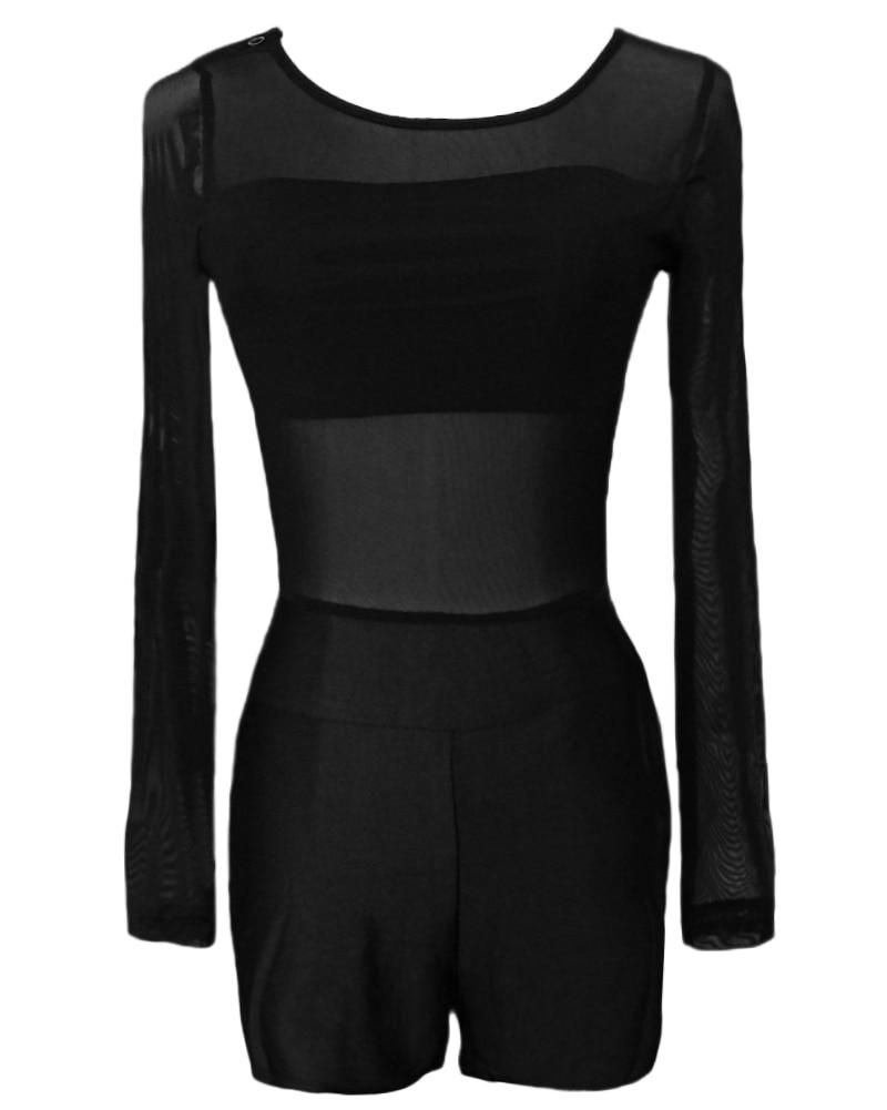 d41d4e1cd612 Sexy Overalls for Women Jumpsuit Mesh Lace Round Neck Long Sleeve Bodycon Short  Rompers Slim Bodysuit female Playsuit tracksuits