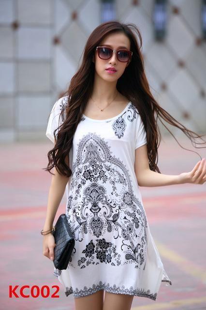3a555d845f1 New 2017 summer dress short sleeve vestidos o-neck loose casual bohemian  dresses print long women tunic tops roupa femininas