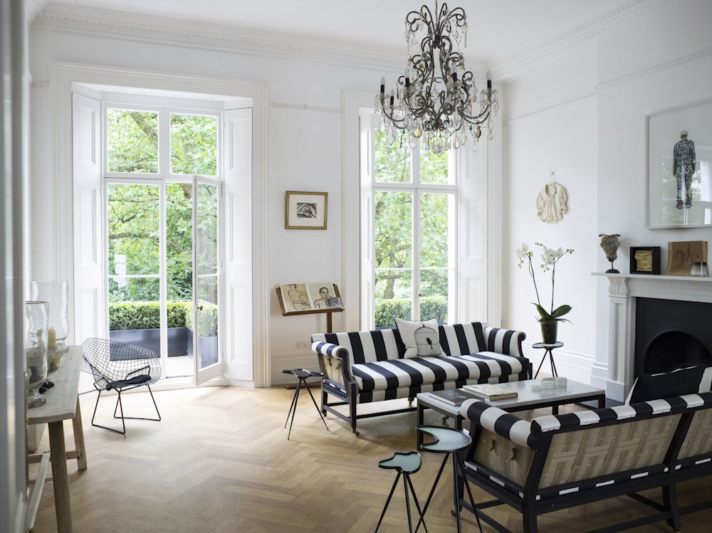 Georgian Townhouse In London Designed By Harriet Anstruther Studio Loving The Striped Sofa Upholstery Exposed Backs Herringbone Wood Floors And