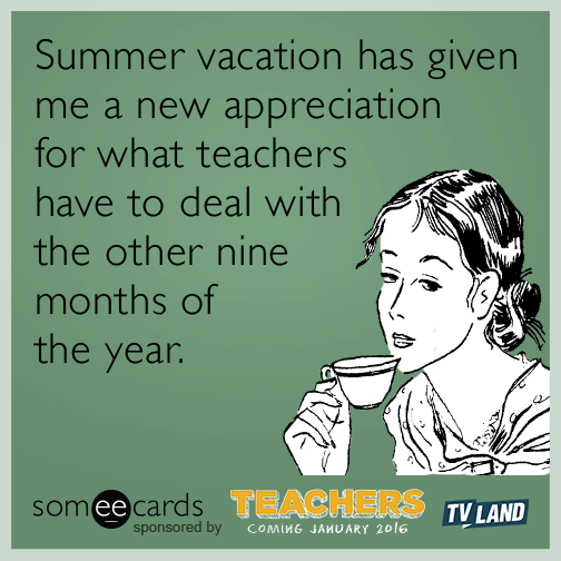 Summer Vacation Has Given Me A New Appreciation For What Teachers Have To Deal With The Other Nine Months Of The Year Teaching Humor Months In A Year Teaching Memes