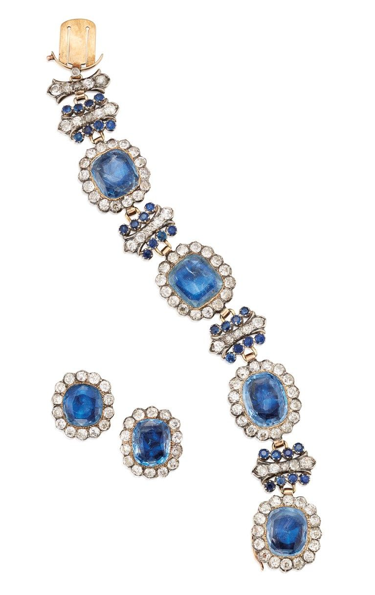 Antique Sapphire And Diamond Bracelet And Earrings Set Indigo Jewelry Jewels Natural Pearl Earrings