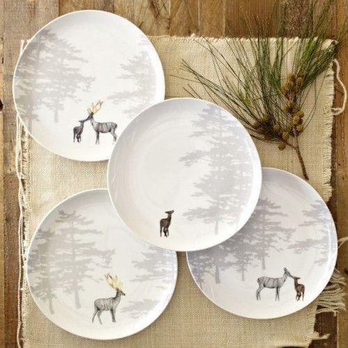 Reindeer Organic Dessert Plates Set of 4 - eclectic - dinnerware - by West Elm & Reindeer plates / West Elm   Cabin in the Woods   Pinterest   Clay