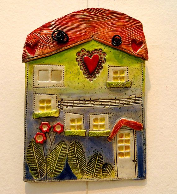 Ceramic house ceramic wall hanging clay house pottery by GUDAR ...