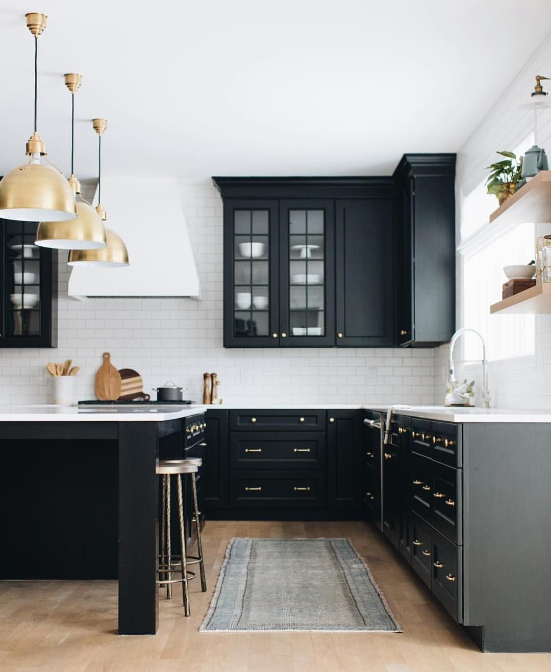 Kitchens Of Instagram On Instagram Loving These Black Cabinets From Redesignhomellc Stofferp Kitchen Design Kitchen Cabinet Styles Shaker Style Kitchens