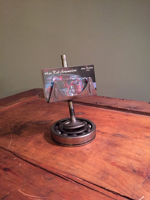 Custom hot rod business card holder made from repurposed for Vehicle business card holder