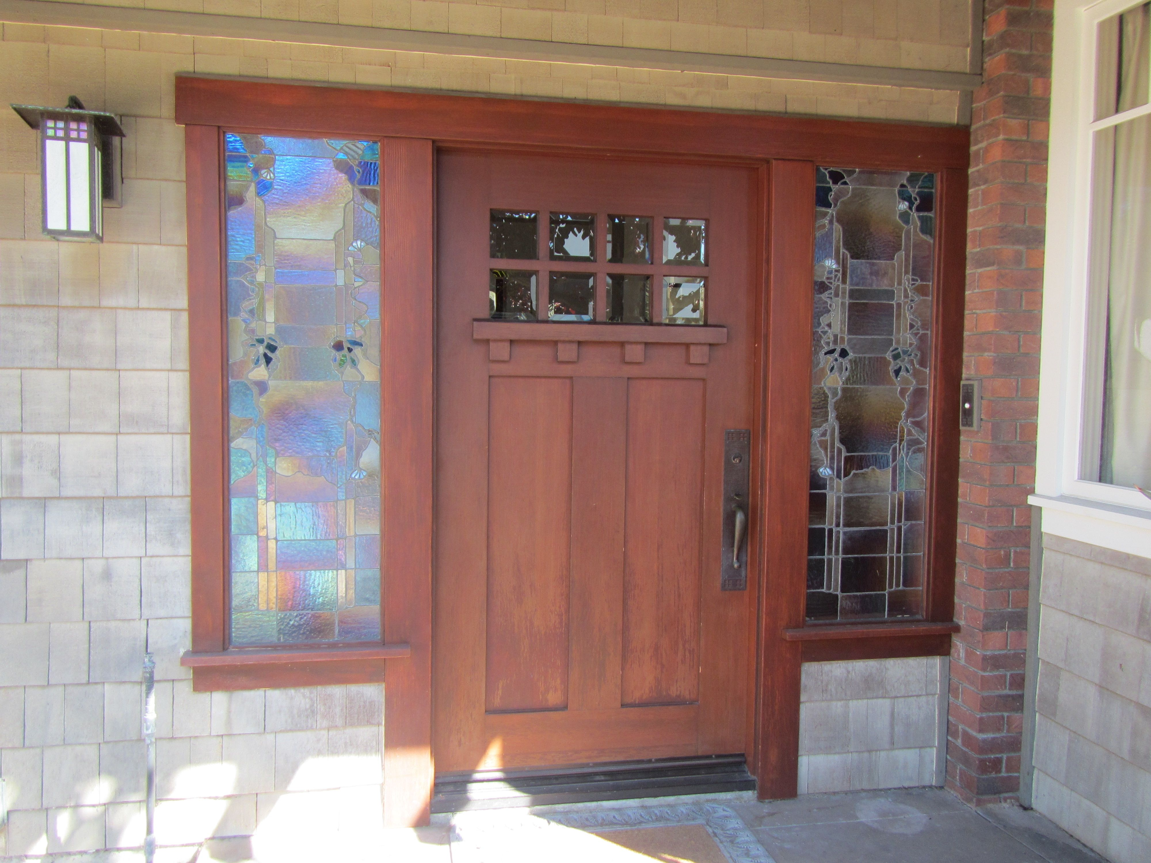Craftsman Door With Stained Glass Side Lights Shut The