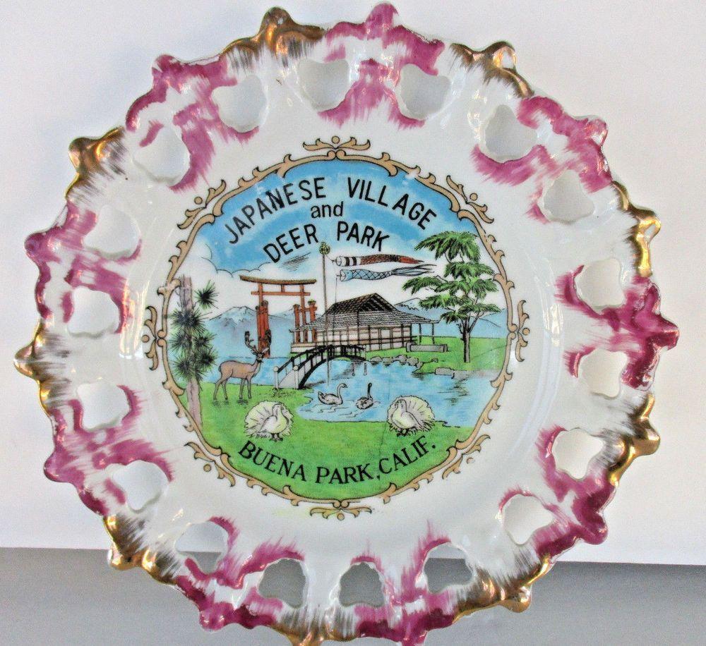 Japanese Village Deer Park Buena Park Ca Ceramic Souvenir Plate Purple Gold Vtg Vintage Japan Deer Park Souvenir