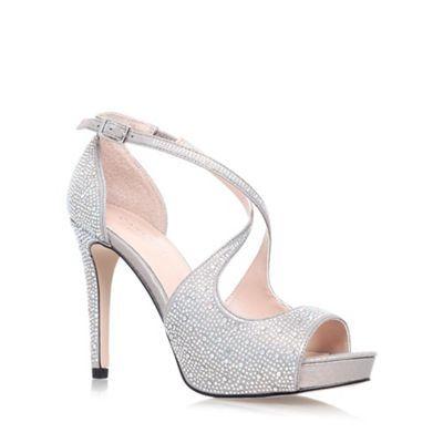 carvela silver 'gift' high heel strappy sandal  debenhams
