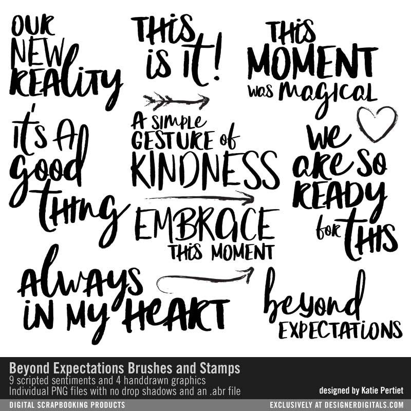 Beyond Expectations Brushes and Stamps handstyled scripted