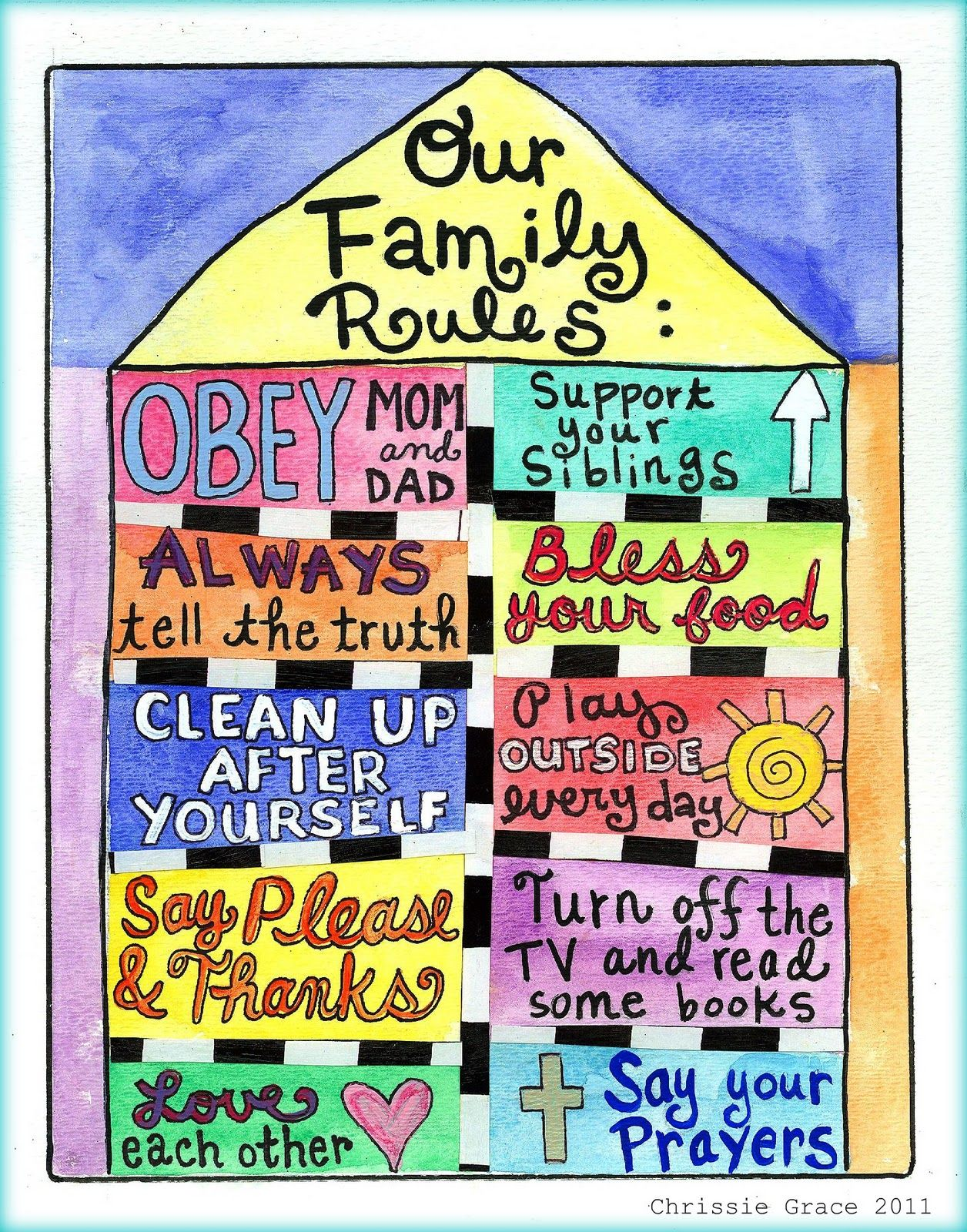 Our Family Rules I Printed Amp Posted On Our Schoolroom