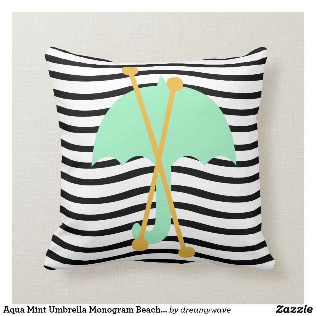 Aqua Mint Umbrella Monogram Beach Vibes Throw Pillow Throw Pillows Beach Monogram Cool Umbrellas