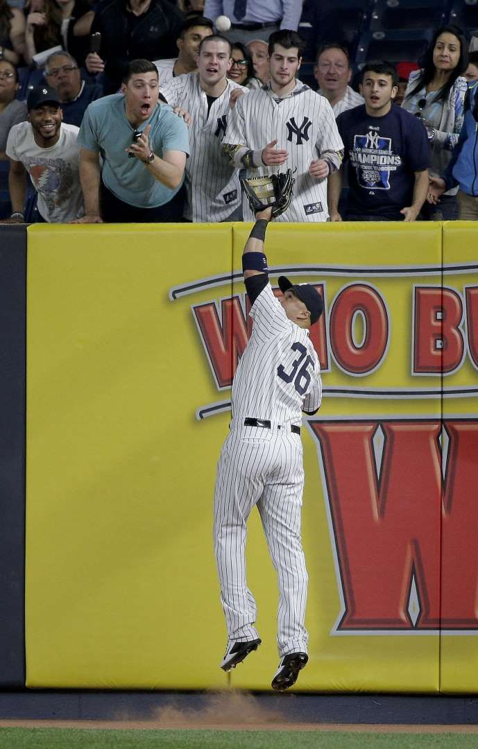 Catch At The Wall New York Yankees Right Fielder Carlos