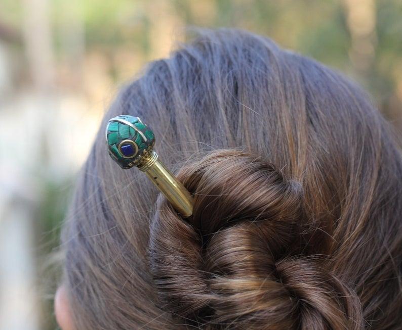 "7/"" wooden oriental style hair stick green silver //black 18cm long"