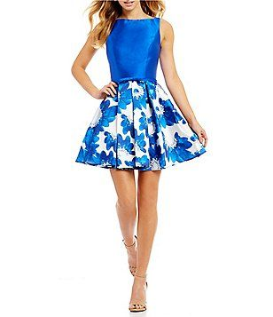 55b8d8d5ac5 Glamour by Terani Couture Floral Print Skirt Fit-And-Flare Dress ...