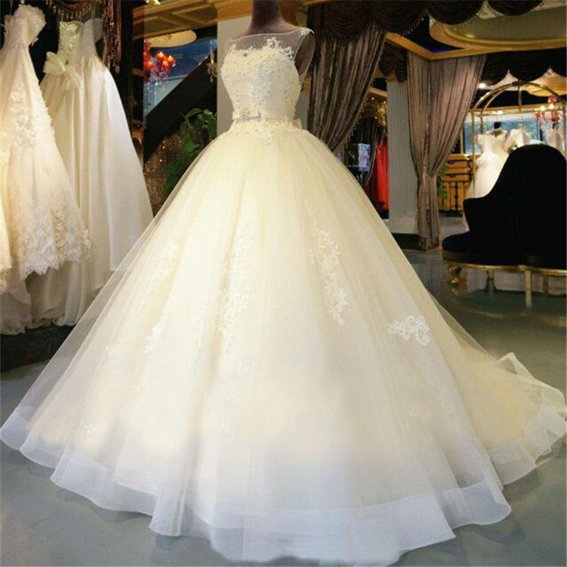 72cd1d1810 High Quality White Wedding Dress,Lace Bridal Gown,Sleeveless Wedding ...