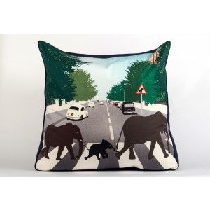Abbey Road Migration adult floor cushion. Whimsical and fun.... £100 incl postage   #cushions #elephants #abbeyroad