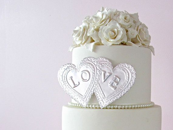 Love Cake Topper, Wedding Cake Decoration, Double Hearts - handmade in Australia by FoilingStar