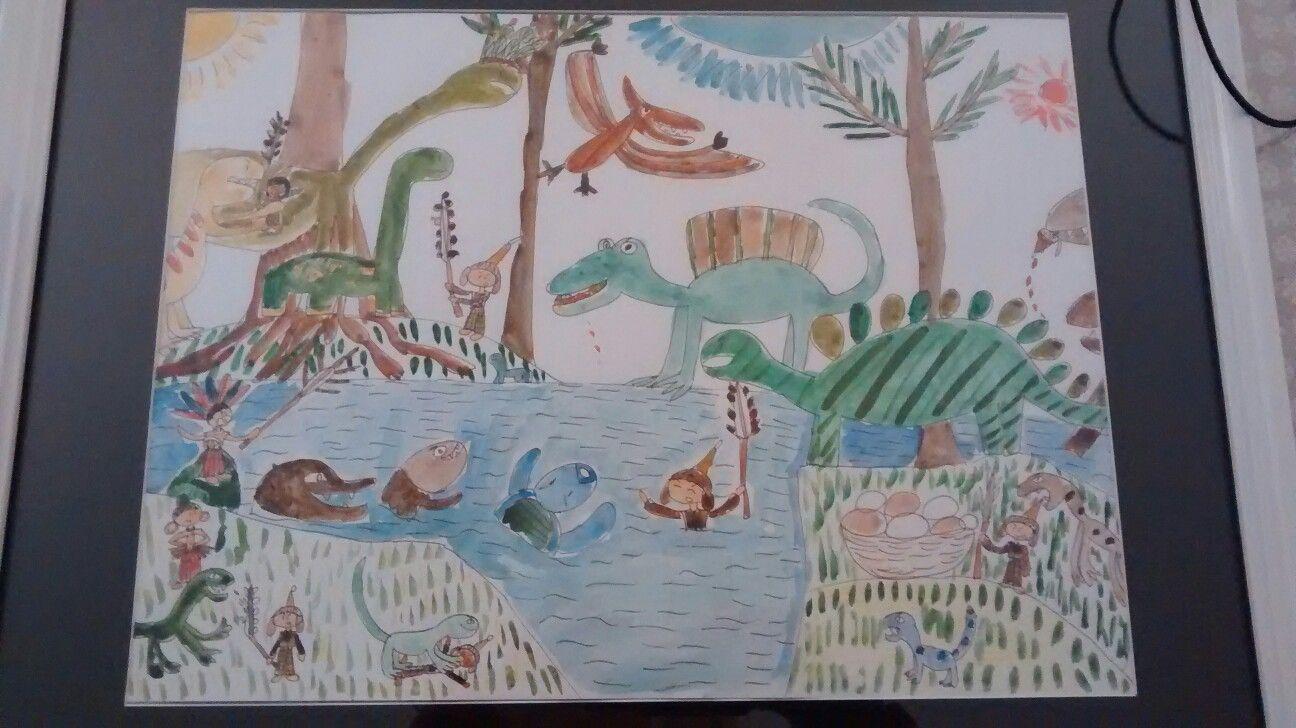 Coloriage Dinosaure Qui Se Battent.Dinosaures Qui Se Battent Contre Les Humains Paysage Avec