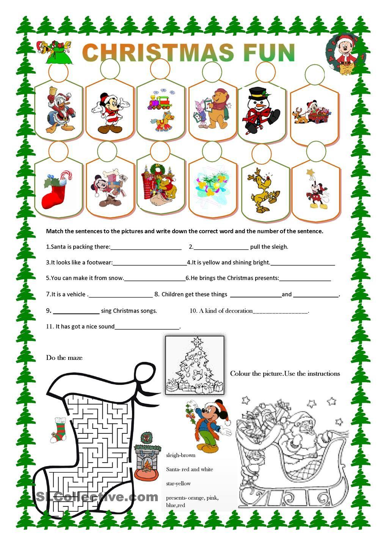 Christmas fun Christmas worksheets, Christmas fun