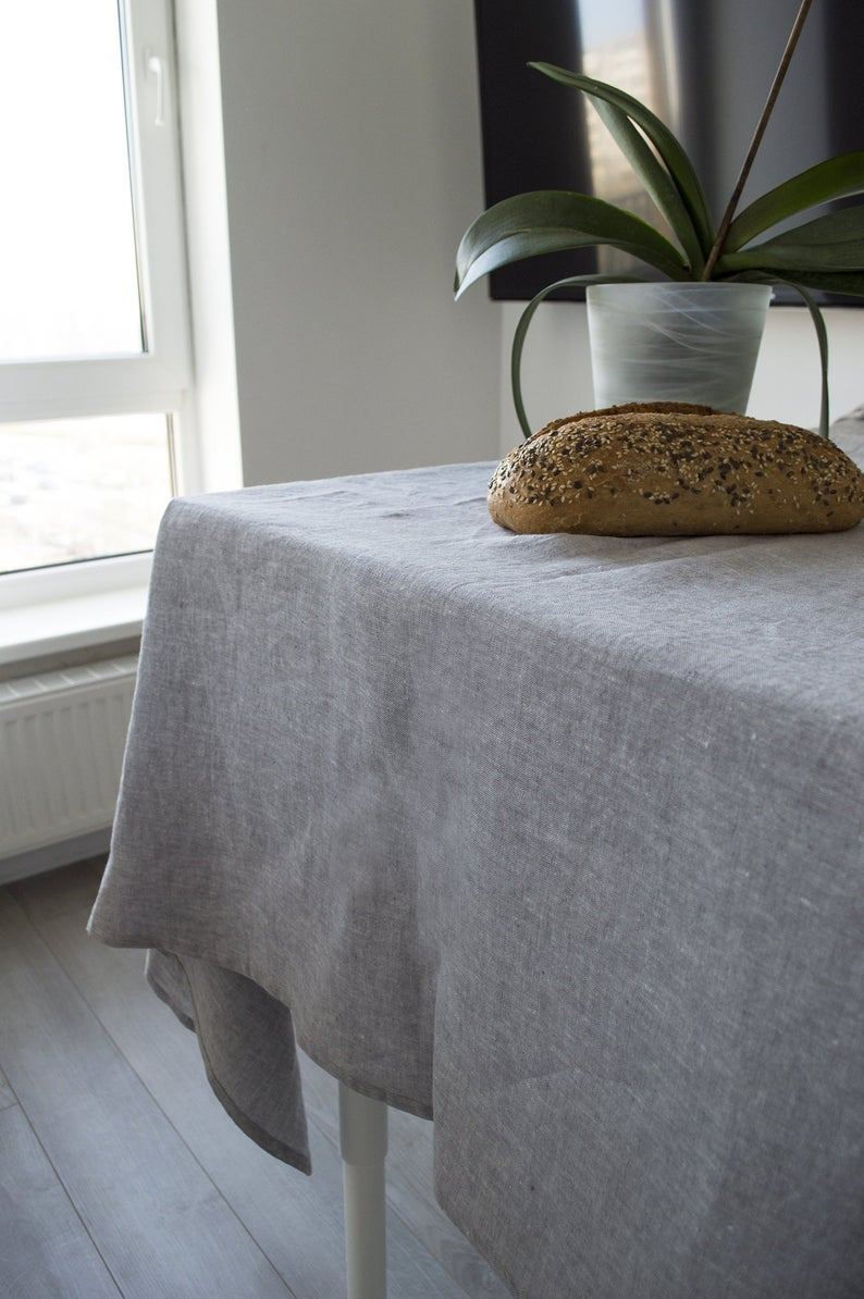 Linen Tablecloth Natural Linen Table Cloth Table Decor Custom Size Tablecloth Dining Tablecloth Large Tablecloth In Melange Grey Color In 2020 Linen Tablecloth Grey Hand Towels Linen Tea Towel