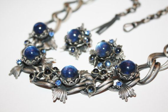 Art Deco Necklace Germany Blue Orb Chunky Thistle by patwatty