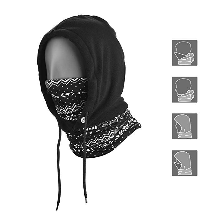 Topnaca Face Mask Neck Warmer Fleece Hood Balaclava Winter Hat for Men Women 74edccb96