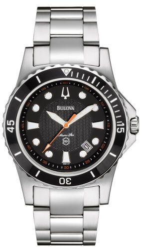 dee03b04dd65 Bulova 98B131 Men s Marine Star Stainless Steel 200M Black Dial Sports Watch