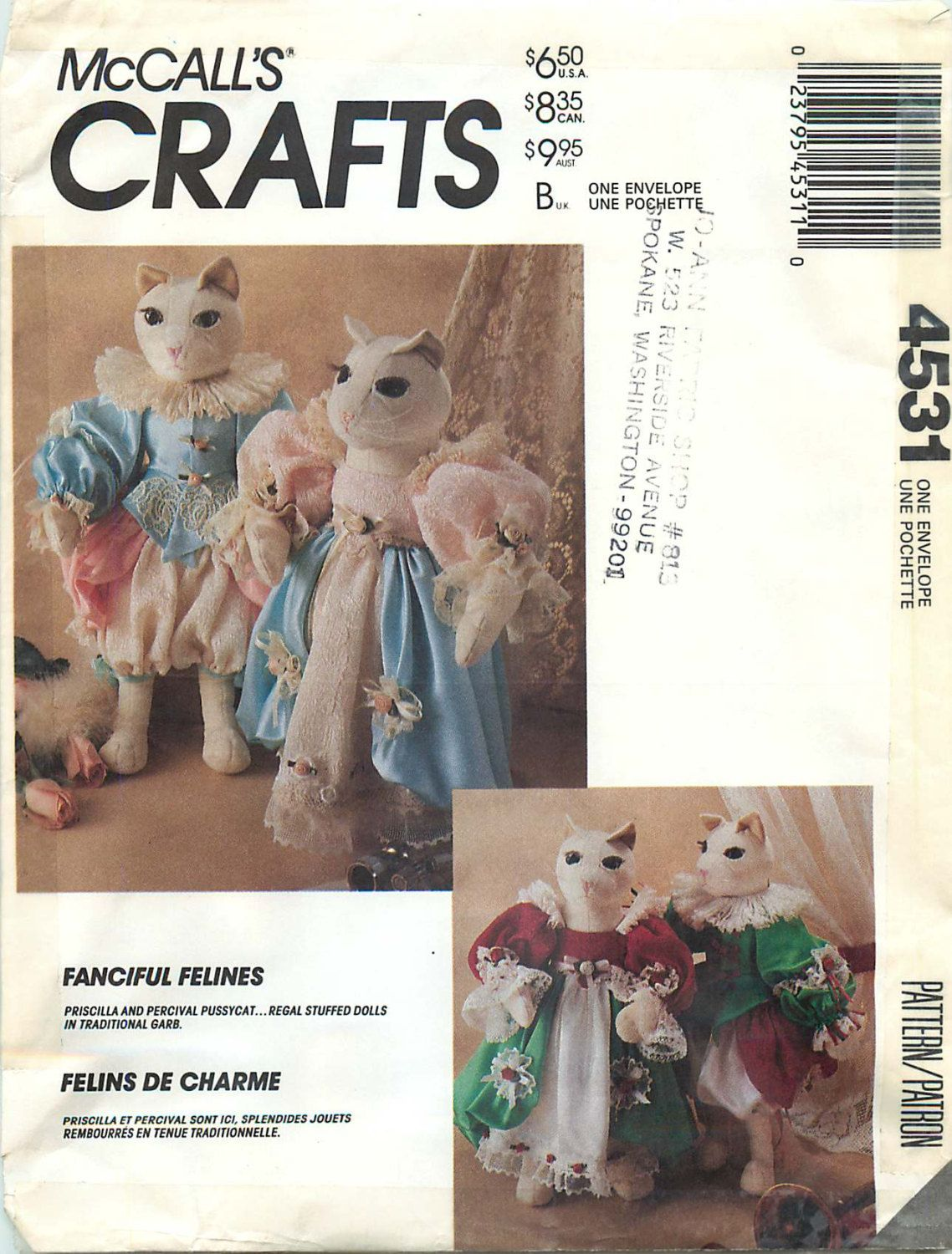 """McCall's Crafts 4531 Sewing Pattern for """"Fanciful Felines"""" - Elizabethan Cat and Wardrobe by CarlasHope on Etsy"""