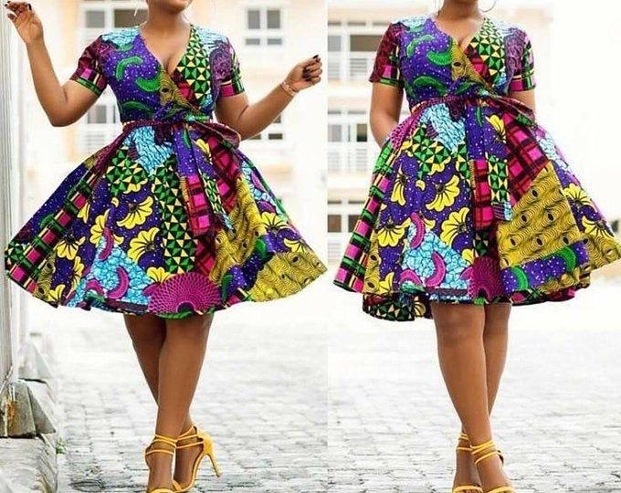 African Ankara high and low dress #africanprintdresses